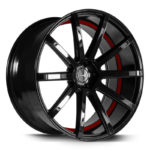 Corspeed Deville higloss black concave wheel with red undercut trimline